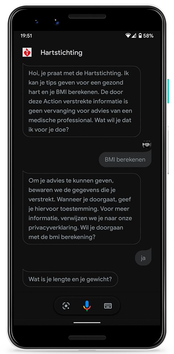 Telefoon met een Google Assistant-dialoog op het scherm