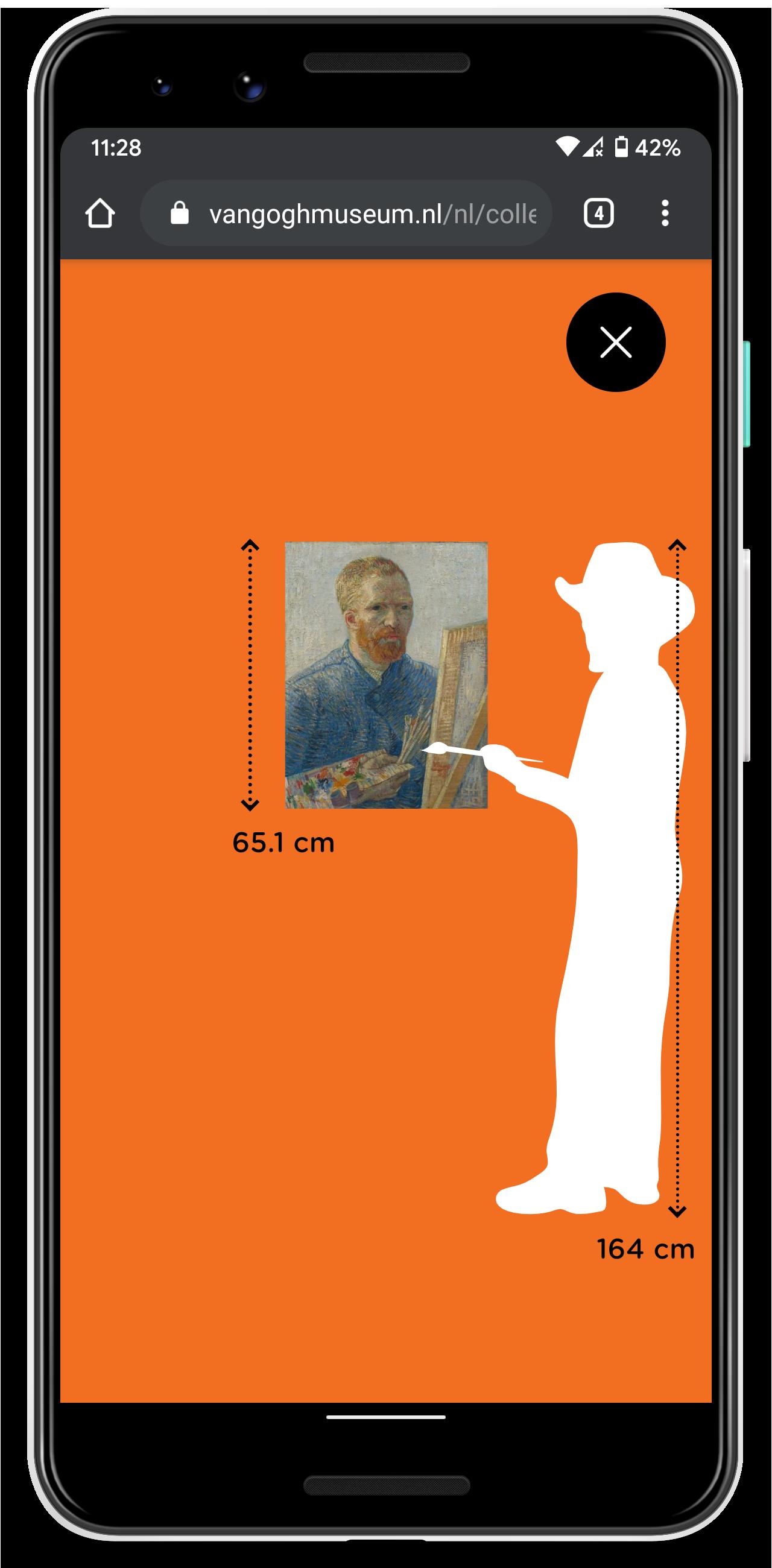 Mobiele telefoon met een zelfportret van Van Gogh naast een Van Gogh-figuurtje