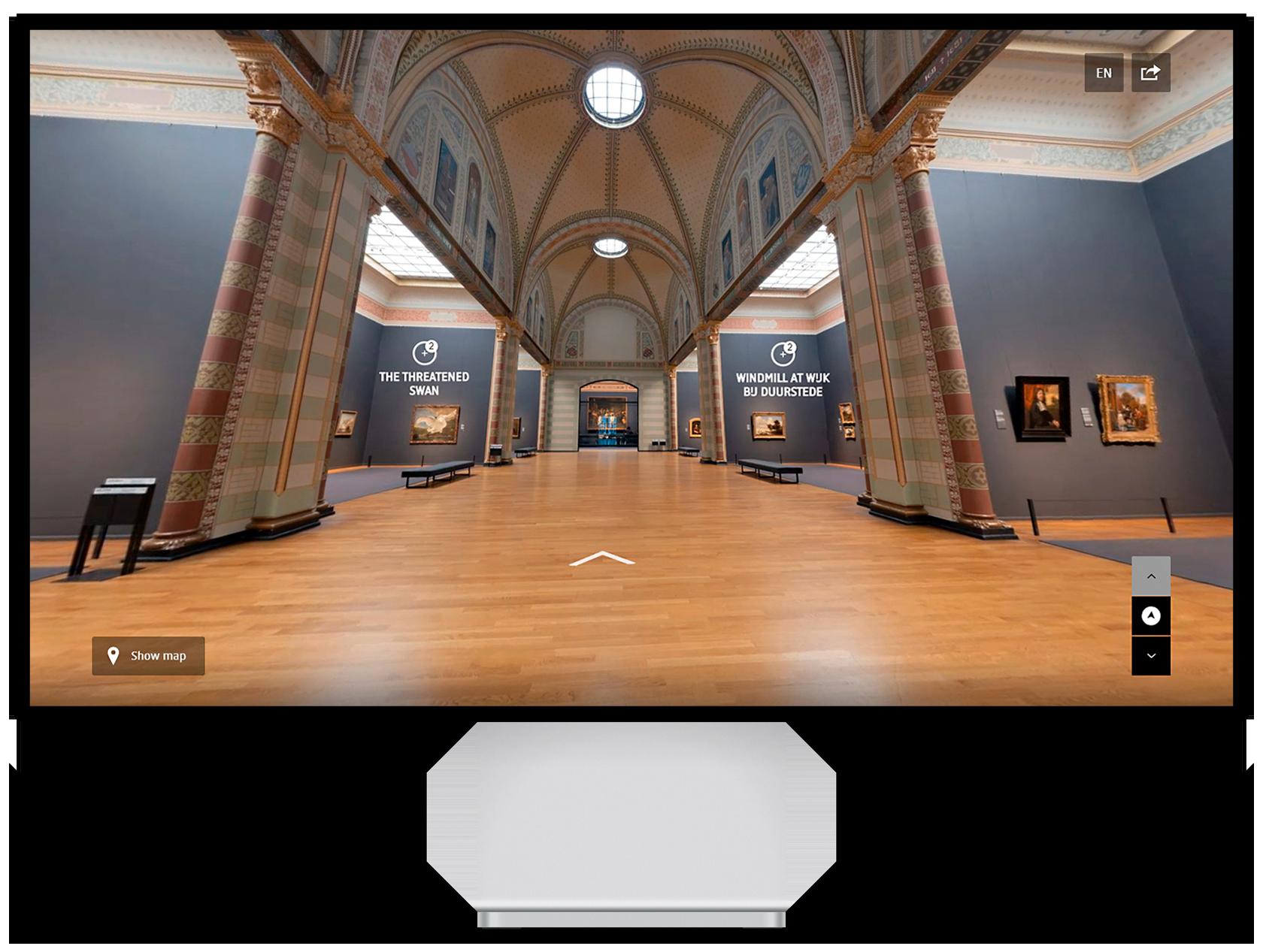 Beeldscherm met de virtuele tour door het Rijksmuseum