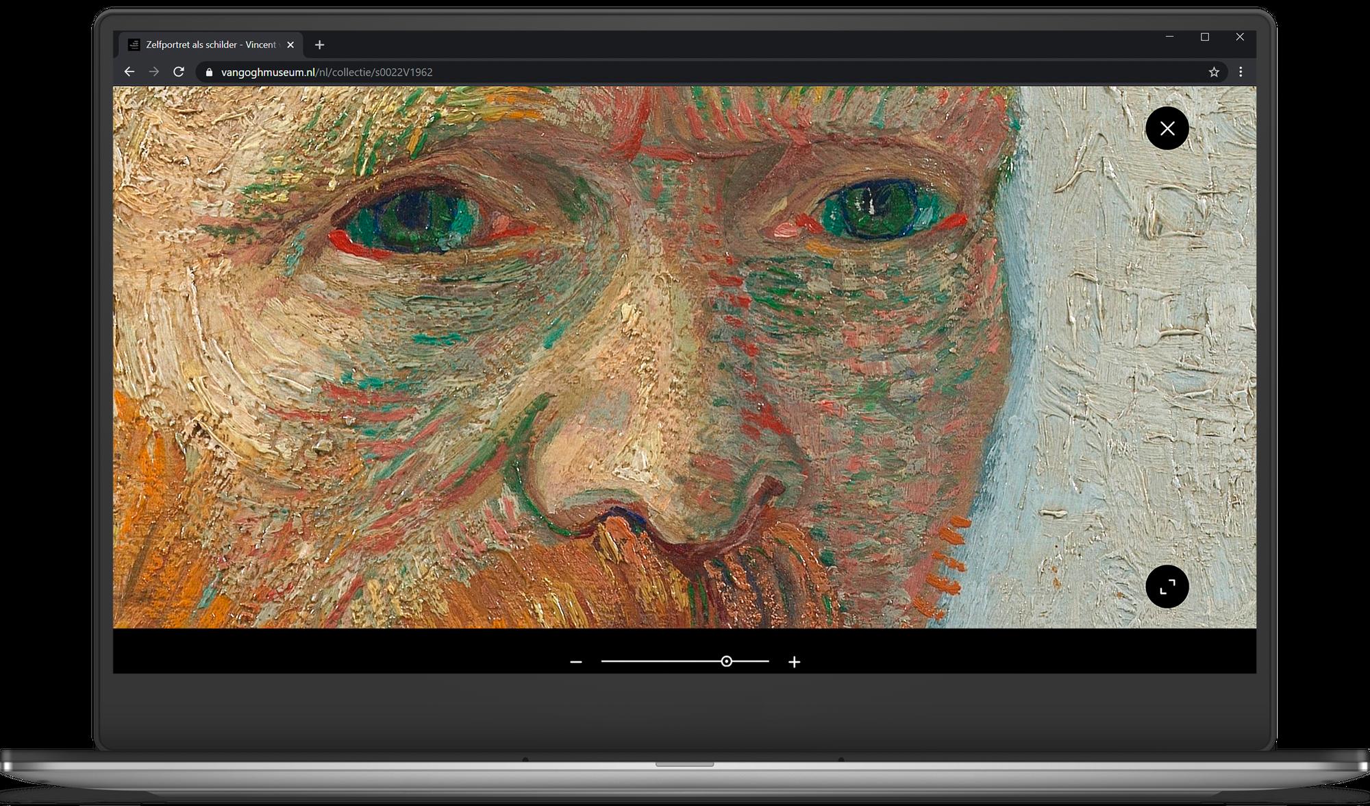 Laptop met een ingezoomd zelfportret van Vincent van Gogh