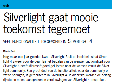 Michiel Post over Silverlight in .NET magazine